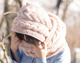 Hooded Cable Scarf, knitting pattern, Hoodie, Cabled Long Hoodie Scarves, Cowl, Knit Scarves, Trend Knit Accessories