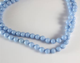 1960s Long Small Round Smooth Popper Beads Pale Blue Beaded Plastic Bead Necklace