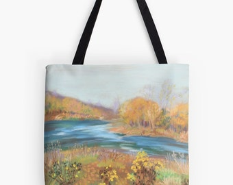 "Riverwalk Landscape Scenery Tote Bag - Artist's Pastel Painting Design. Two Sizes Available Medium 16"" and Large 18"""