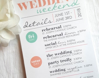 Double Sided Welcome Itinerary - Wedding Welcome Card   wedding itinerary     wedding schedule     wedding timeline  - Style IT5