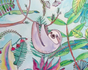Sweet Sloth - Print of Original Watercolor Painting