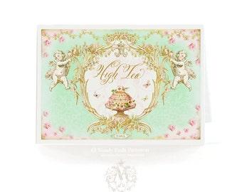 High tea, cake card, Birthday card, tea card, bridal shower, tea party card, blank inside