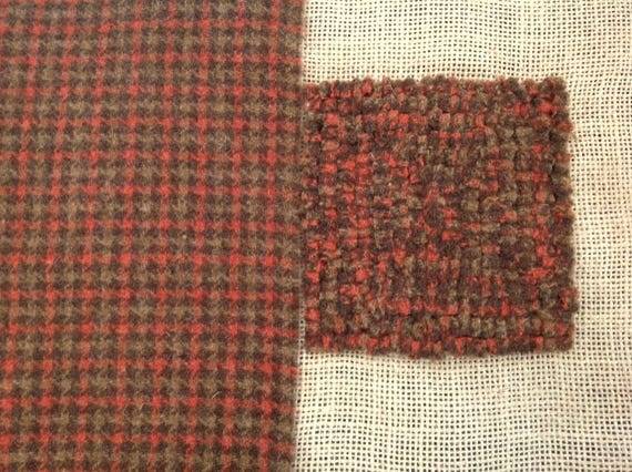 Fat 1/4 yard, Brown Check, Wool Fabric for Rug Hooking and Applique,  W129, Brown and Orange Check, Autumn Colors