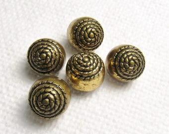 """Knot Too Shabby: 1/2"""" (13mm) Vintage Antiqued Gold Metal Buttons - Set of 5 Matching Buttons"""