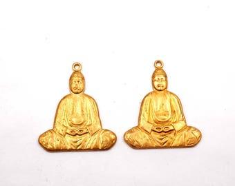 2 Brass Buddha Charms - 21-18-8
