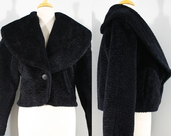 1980s Black Cropped Faux Persian Lamb Jacket, Small to Large | 80s Shawl Collar Faux Fur Jacket (S, M, L, 40-41)