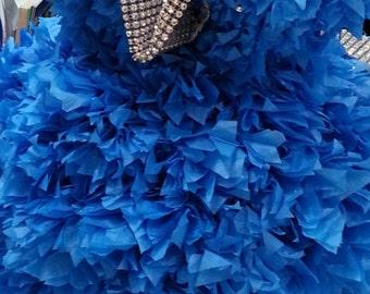 3ft Pageant DRESS REPLICA PuffScape Centerpiece - Tissue Paper Flower Pom Pom Puffs Bridal Fairy Tale Princess Wedding Quinceanera Sweet 16