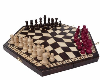 Noble chess game for three 40 x 35 chess figures wood