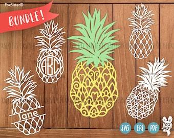 Monogram SVG / PDF Pineapples Papercut Template Bundle   Tropics   Summer   Commercial use   fruits   Cut files   Cricut   Silhouette