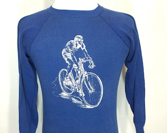 70's bike print sweatshirt 50/50 blend raglan sleeve
