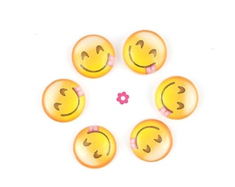 x 10 Cabochons round smiley emoticon glass 12mm (10A)