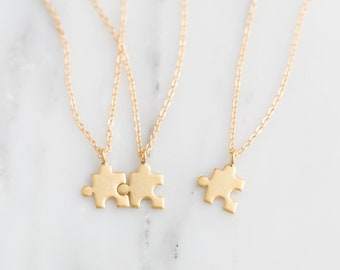 Gold Puzzle Necklace / Best Friend Necklace Set / Gold Puzzle Piece Necklace / Custom Autism Necklace / BFF Necklace for 2 3 4 / Bridesmaid