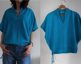 Tortoise Blue Southwestern Cotton Drawstring Cropped Oversized Short Sleeve Shirt