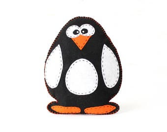 Penguin Sewing Pattern, Felt Penguin Hand Sewing Pattern, Plush Penguin Softie, Penguin Plushie, Emperor Penguin Toy, How to Sew a Penguin