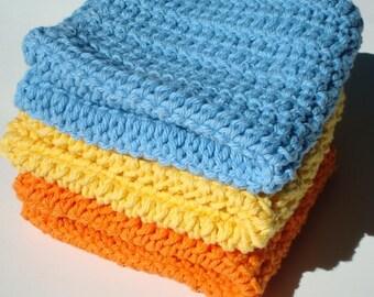Three Crochet Dishcloths, Washcloths Blue, Yellow, Orange Crocheted Crochet Dish Cloths, Wash Cloths