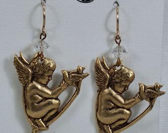Art Nouveau French Cherub Earrings, Gold Cherub Dangles, Romantic Victorian Earrings, Crystal Angel Cherub Bird Earrings Under 18