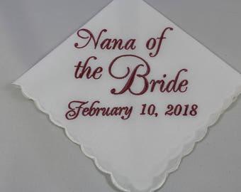 Nana of the Bride - Embroidered Handkerchief - Wedding Gift - Simply Sweet Hankies