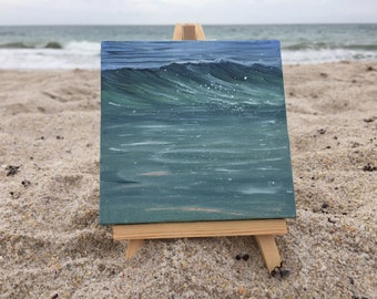 Emerald Swell - Small Green Ocean Wave Oil Painting on Canvas with Mini Easel