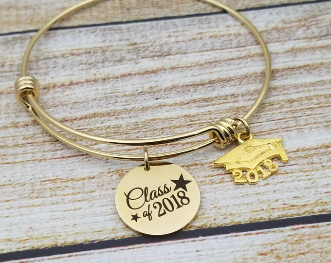 Class of 2018 with stars accent in gold Customizable Expandable Bangle Charm Bracelet, graduation, high school, college, gold tone
