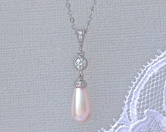Pearl Necklace, Pearl Bridal Necklace, Blush Wedding Necklace, Bridal Jewelry, Wedding Jewelry AUDREY