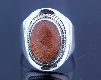 Brown Sunstone Silver Ring // 925 Sterling Silver // Ring Size 7 // Handmade Ring Jewelry