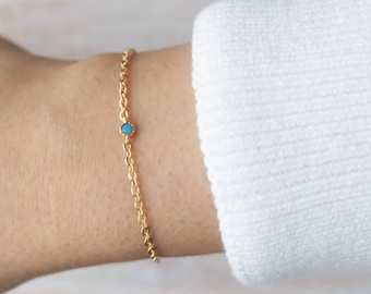 December Birthstone bracelet, Turquoise jewelry, thin bracelet, christmas gift, december birthstone, dainty bracelet, gifts for her