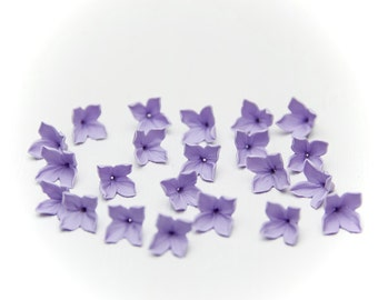 20 Lilac beads, lilac flowers polymer clay beads jewelry, lilac flowers 9-10mm