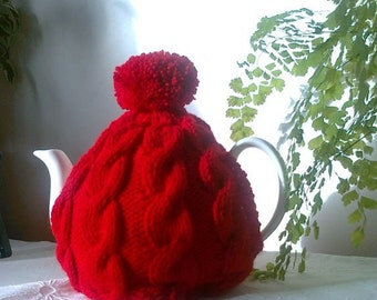 Knitted tea cosy - Scarlet Red Cable Design