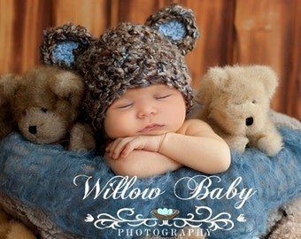 SALE READY Baby Boy Hat  - Baby Bear Hat  - Baby Hat Made with Soft Chunky Yarn