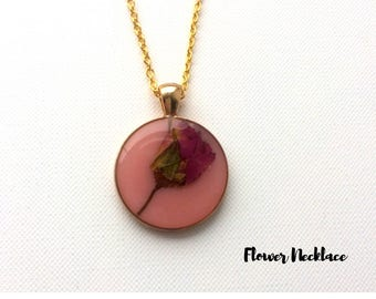 10% OFF! Rose Necklace, Flower Necklace,Resin Jewellery, UK jewellery, Gift For Her, Bridesmaid Gift, Bridal Gift.