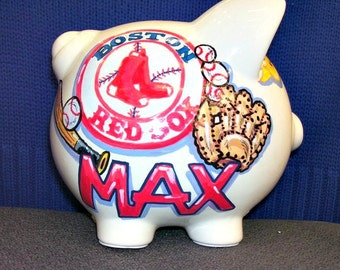Personalized Piggy Bank Sports Custom Art in the Baseball Team of Your Choice