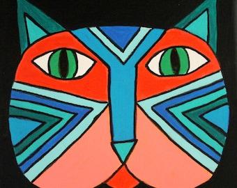 Cool Cat abstrait peinture originale de visage