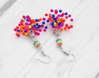 Neon earrings jewelry neon colour jewelry statement earrings fun earrings bright earrings unique earrings hippie earrings retro earrings