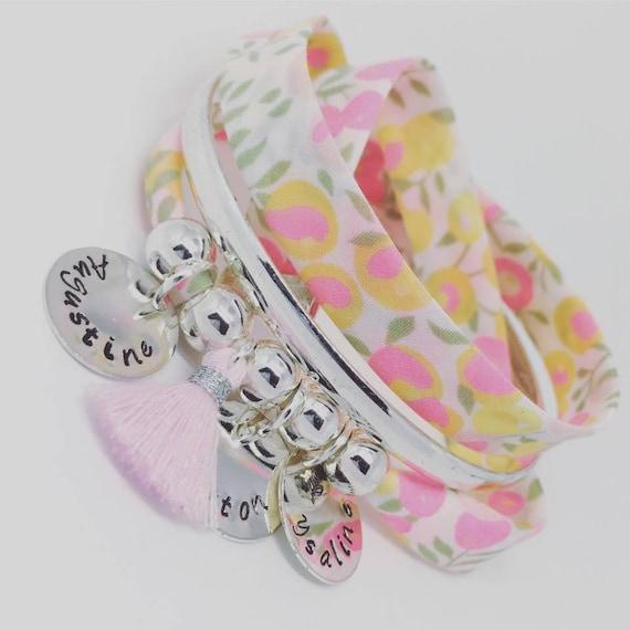 ★ personalized jewel ★ Bracelet GriGri XL Liberty of London 3 prints custom & tassel Palilo jewelry ★ ★