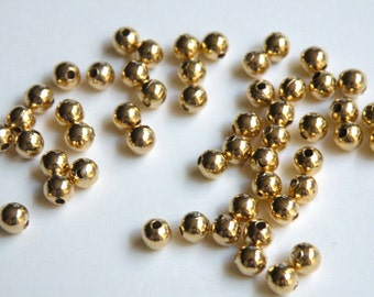 100 Round smooth ball spacer beads shiny gold 4mm 1475MB