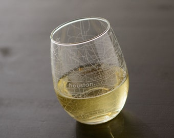 Houston Maps Stemless Wine Glass