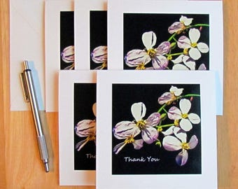 Flower Thank You Cards, Thank You Card Set, Wedding Thank You, Set of 5 Thank You Cards, Wedding Thank You Cards,Thank You Cards, Thanks