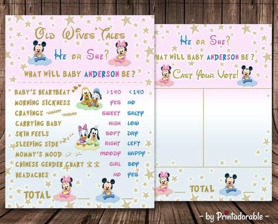 Disney Gender Reveal - Disney Baby Shower - Old Wives Tale - Gender Reveal Sign - Disney Baby Game - Baby Shower Sign - Gender Reveal