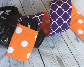 Clemson tigers Purple and Orange camera strap cover- graduate gift- monogrammed