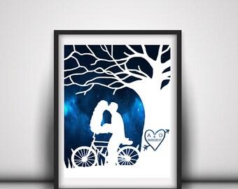 Bike Wedding Gift - Couple With Bike - Outdoor Couples Gift - Couple On Bike - Customized Bike Gift - Outdoor Anniversary - Bicycle Wedding