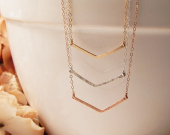 Chevron Necklace, V Necklace, Gold, Rose Gold or Silver Geometric, Gold Bar, Hammered Chevron, Girlfriend Gift, Minimalist [425]