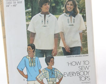 Simplicity Everybody Pullover Tops Pattern -- Chest 38 40 -- Transfer, How To Sew, Embroidery, Kimono Sleeves -- 1976 -- Uncut