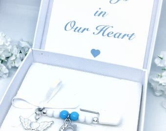 Memento, Baby Pin, In memory of an Angel, Wings, Initial Letter Charm, Charity donation