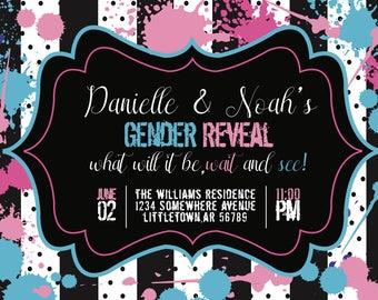 Splattered paint gender reveal invitation, pink and blue, stripes, polka dots, 5X7, DIGITAL File ONLY
