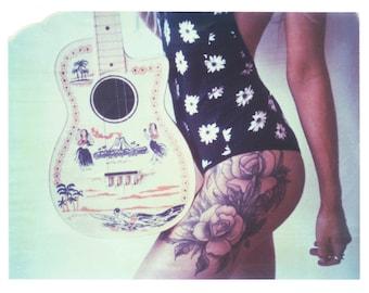 Tattoo Girl Art Gothic Vintage Hawaiian Toy Guitar Polaroid Print 8x10 inches