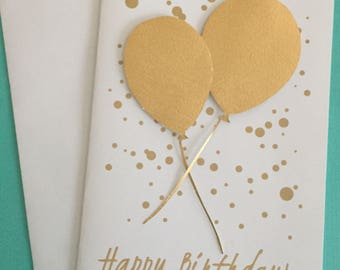 """XL card, gold balloons, Happy Birthday, gold and white, confetti card, 8.5""""x5.5"""""""