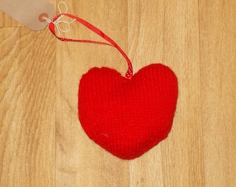 hand knitted heart decoration
