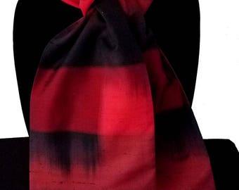 Kimono Scarf S8291 - red and black kasuri