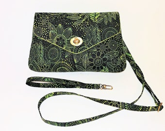 Small Green Botanical Quilted Crossbody/Wristlet