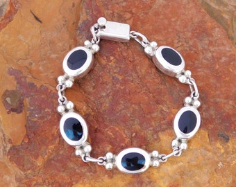 "Taxco Mexico 925 Sterling Silver 7-3/8"" Vintage Link Bracelet Black Onyx Inlays"